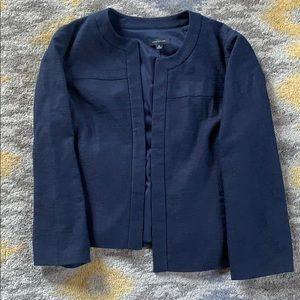 Ann Taylor navy textured, lined cotton blazer